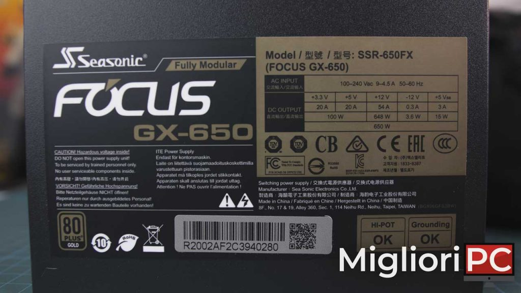 Seasonic Focus Gold GX650 - tabella amperometrica