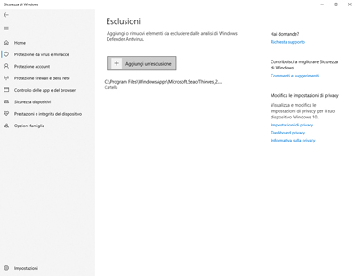 Disattivare Windows Defender su Windows 10: Esclusioni